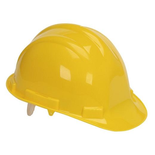 Желтая каска для обычных рабочих на фото