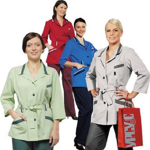 Блузоны с контрастной отделкой для медицинских работников и в сфере обслуживания представлены на фото