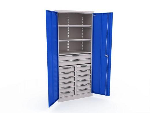 Еще один металлический шкаф для инструментов на рисунке