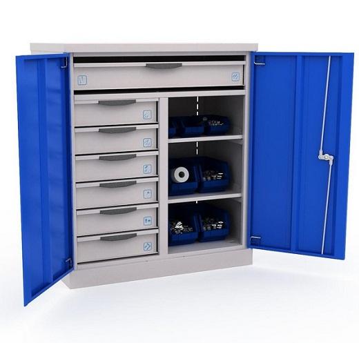 На снимке пример металлического шкафа для инструментов и документов