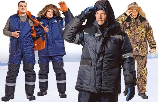Различные виды зимней мужской спецодежды на фото