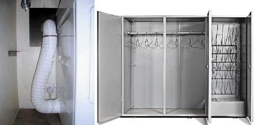 Пример подключения сушильного оборудования к вентиляции с использованием гофрошланга на снимке