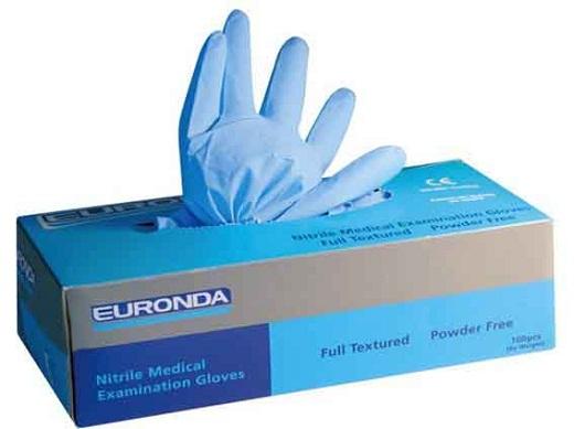 На снимке представлены нитриловые перчатки «Euronda».