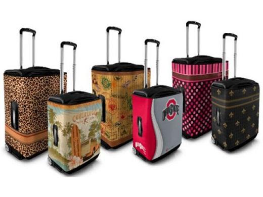 На снимке представлены чехлы для чемоданов, выполненные из неопрена