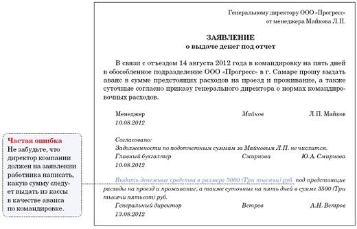 На фото образец заявления на командировочные расходы