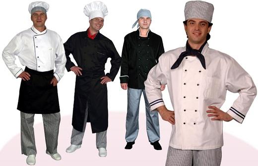 На фото представлены различные комплекты поварской спецодежды