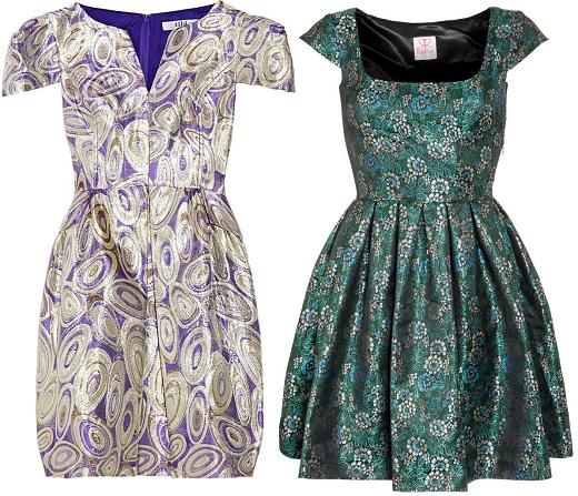 На фото представлены платья из жаккардовой ткани