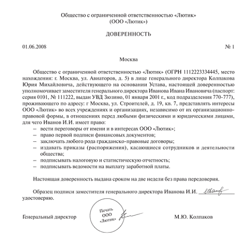 На фото представлен пример доверенности на право первой подписи документов