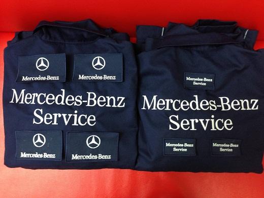 На фото пример спецодежды для автосервиса Mersedes-Benz