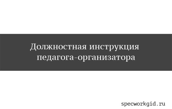 Должностная инструкция педагога-организатора